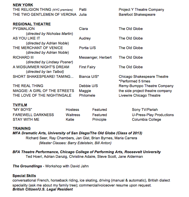 theatrefilm resume